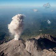 A view of Caliente lava dome erupting from the summit of Santa Maria Volcano. Caliente is part of the Santiaguito lava-dome complex, one of three active volcanic complexes in Guatemala.