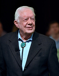 April 28, 2019 - Plains, Georgia, United States - Former U.S. President Jimmy Carter speaks to the congregation at Maranatha Baptist Church before teaching Sunday school in his hometown of Plains, Georgia on April 28, 2019. Carter, 94, has taught Sunday school at the church on a regular basis since leaving the White House in 1981, drawing hundreds of visitors who arrive hours before the 10:00 am lesson in order to get a seat and have a photograph taken with the former President and former First Lady Rosalynn Carter. (Credit Image: © Paul Hennessy/NurPhoto via ZUMA Press)