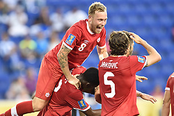 July 7, 2017 - Harrison, New Jersey, U.S - Canada midfielder SCOTT ARFIELD (8) celebrates Canada's first goal during the CONCACAF Gold Cup 2017 at Red Bull Arena in Harrison New Jersey Canada defeats French Guiana 4 to 2. (Credit Image: © Brooks Von Arx via ZUMA Wire)
