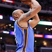 11 May 2014: Oklahoma City Thunder forward Caron Butler (2) takes a jump shot during the Los Angeles Clippers 101-99 victory over the Oklahoma City Thunder, during Game Four of the Western Conference Semifinals of the NBA Playoffs, at the Staples Center, Los Angeles, California, USA.