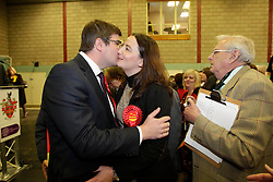 Labour's Latest MP Andy Sawford with his wife Jo, Corby By-Election, Corby, Northamptonshire, November 16, 2012. Photo By Tim Scrivener / i-Images.