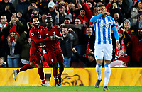 Liverpool's Sadio Mane celebrates scoring his side's second goal with teammate Mohamed Salah<br /> <br /> Photographer Alex Dodd/CameraSport<br /> <br /> The Premier League - Liverpool v Huddersfield Town - Friday 26th April 2019 - Anfield - Liverpool<br /> <br /> World Copyright © 2019 CameraSport. All rights reserved. 43 Linden Ave. Countesthorpe. Leicester. England. LE8 5PG - Tel: +44 (0) 116 277 4147 - admin@camerasport.com - www.camerasport.com