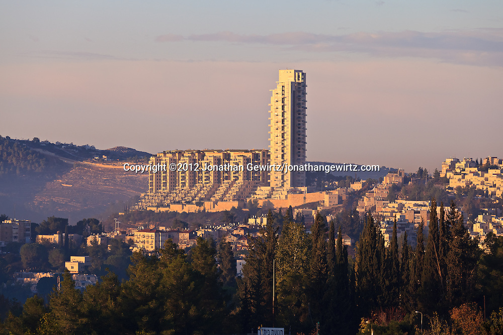 High-rise residential buildings located to the West of downtown Jerusalem. WATERMARKS WILL NOT APPEAR ON PRINTS OR LICENSED IMAGES.