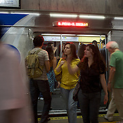 Commuters using the Metro rail transport system in Rio de Janeiro,  Brazil. 27th July 2010. Photo Tim Clayton..