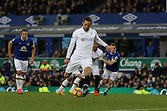 Gylfi Sigudsson of Swansea City takes a penalty and scores his teams 1st goal. Premier league match, Everton v Swansea city at Goodison Park in Liverpool, Merseyside on Saturday 19th November 2016.<br /> pic by Chris Stading, Andrew Orchard sports photography.