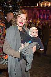 CAMILLA RUTHERFORD and her son BLAISE and at the launch of Skate at Somerset House in association with Fortnum & Mason held at Somerset House, The Strand, London on 17th November 2015.