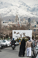Tehran. Iran , the north part of the city ,, in the distance the Alborz mountain