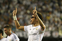 Real Madrid´s Pepe celebrates a Gareth Bale´s goal during the Spanish Copa del Rey `King´s Cup´ final soccer match between Real Madrid and F.C. Barcelona at Mestalla stadium, in Valencia, Spain. April 16, 2014. (ALTERPHOTOS/Victor Blanco)