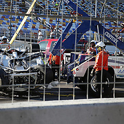 The car of driver Parker Kligerman is seen after a crash during the  56th Annual NASCAR Daytona 500 practice session at Daytona International Speedway on Wednesday, February 19, 2014 in Daytona Beach, Florida.  (AP Photo/Alex Menendez)
