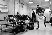 In the locker room of the Red Hook PAL in Brooklyn, a boxer is getting ready to fight in the preliminaries of the 2005 Daily News Golden Gloves on March 3rd.
