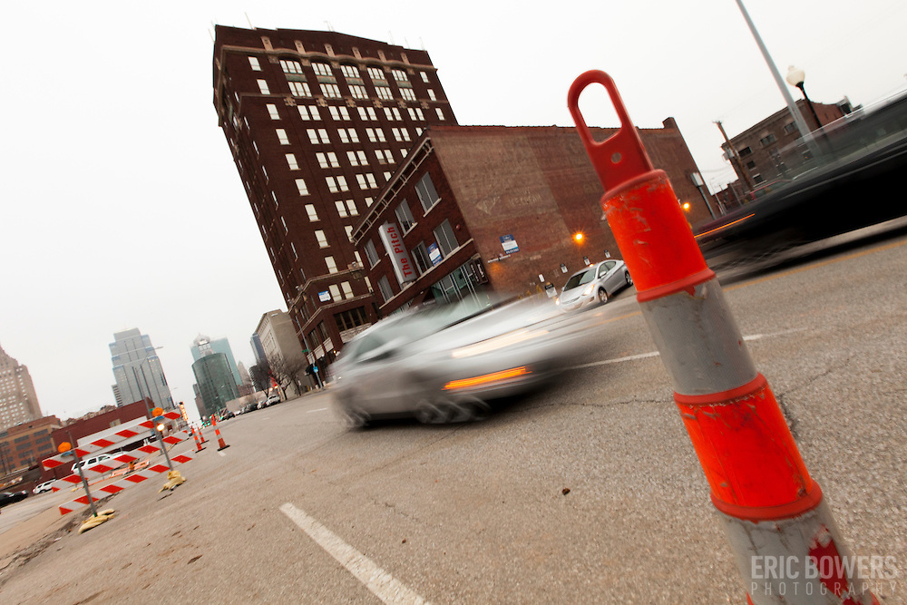 Preparations on Main St for streetcar installation