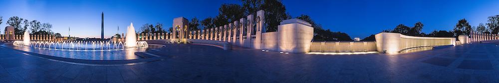 Panorama of the World War Two Memorial in Washington DC