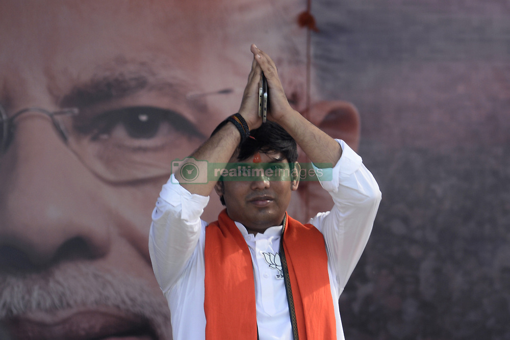 April 29, 2019 - Kolkata, West Bengal, India - Bharatiya Janta Party or BJP candidate for Bhatpara Assembly bi election Pawan Singh greets his party supporter during a Narendra Modi election campaign rally for Lok Sabha Election at Barrackpore constituency of North 24 Parganas. (Credit Image: © Saikat Paul/Pacific Press via ZUMA Wire)