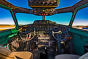 "Cockpit of the B-17G ""Ye Old Pub,"" photographed at Atlanta's Dekalb Peachtree Airport.  <br />