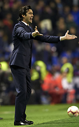 February 24, 2019 - Valencia, Valencia, Spain - Santiago Solari of Real Madrid gives instructions during the week 25 of La Liga match between Levante UD and Real Madrid at Ciutat de Velencia Stadium in Valencia, Spain on February 24, 2019. (Credit Image: © Jose Breton/NurPhoto via ZUMA Press)