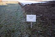 Sign indicating Environmental Stewardship Margin in field, Wantisden, Suffolk, England