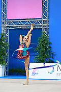 Serdyukova Anastasiya during qualifying ribbon at the Pesaro World Cup April 2, 2016. Anastasiya is an Azerbaijani individual rhythmic gymnast, she was born in May 29, 1997 Tashkent, Uzbekistan.  Her goal is to compete at the 2020 Olympic Games in Tokyo.