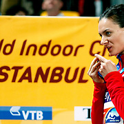 Russia's Yelena Isinbayeva kisses her gold medal on the podium during the medal ceremony for the women's pole vault at the during the IAAF World Indoor Championships at the Atakoy Athletics Arena, Istanbul, Turkey. Photo by TURKPIX