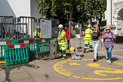 © Licensed to London News Pictures. 04/08/2021. London, UK. Workmen continue to repair THE MARBLE ARCH MOUND after closing two days of opening. London's latest £2 million attraction was to generate tourism and trade to Oxford Street. Instead, visitors have criticised the project as a major flop. Photo credit: Ray Tang/LNP