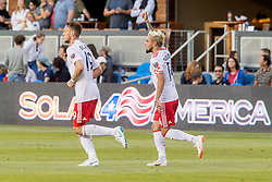 June 13, 2018 - San Jose, CA, U.S. - SAN JOSE, CA - JUNE 13: New England Revolution Midfielder Diego Fagundez (14) celebrates his goal during the MLS game between the New England Revolution and the San Jose Earthquakes on June 13, 2018, at Avaya Stadium in San Jose, CA. The game ended in a 2-2 tie. (Photo by Bob Kupbens/Icon Sportswire) (Credit Image: © Bob Kupbens/Icon SMI via ZUMA Press)
