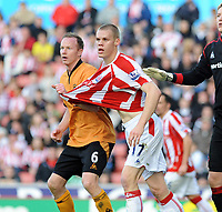 Britannia Stadium Stoke City v Wolverhampton Wanderers 31/10/09<br /> Jody Craddock   (Wolves) exchanges shirts with Ryan Shawcross (Wolves) during the game<br /> Photo Roger Parker Fotosports International