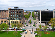 High angle view of Madison, Wisconsin looking north towards Wisconsin Avenue, taken from the Wisconsin State Capitol Observation Deck.