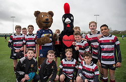 Mascots pose with some young rugby players who are taking part in the Nando's Cup - Mandatory by-line: Paul Knight/JMP - 19/03/2017 - RUGBY - SGS Wise Campus - Bristol, England - Bristol Rugby Foundation Nando's Cup