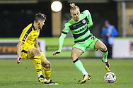 Forest Green Rovers Joseph Mills(23) on the ball during the The FA Cup 1st round replay match between Forest Green Rovers and Oxford United at the New Lawn, Forest Green, United Kingdom on 20 November 2018.