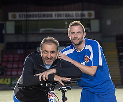 Stenhousemuir fan Stephen Fraser raised money for the club by doing a charity bike ride. Pic with player Colin McMenamin.