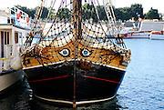 Large eyes painted on  bow of wooden sailing ship. Zadar, Croatia