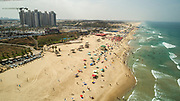 Aerial Photography of the Coastline of Rishon LeZion in central Israel looking south