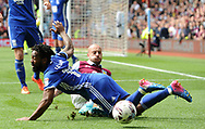 Alan Hutton of Aston Villa battles with Jacques Maghoma of Birmingham city.  EFL Skybet championship match, Aston Villa v Birmingham city at Villa Park in Birmingham, The Midlands on Sunday 23rd April 2017.<br /> pic by Bradley Collyer, Andrew Orchard sports photography.