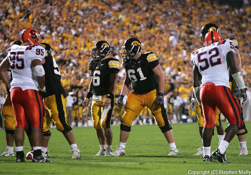 08 SEPTEMBER 2007: Iowa quarterback Jake Christensen (6) and left guard Travis Meade (61) in Iowa's 35-0 win over Syracuse at Kinnick Stadium in Iowa City, Iowa on September 8, 2007.