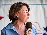 03 JULY 2019 - WEST DES MOINES, IOWA: US Senator AMY KLOBURCHAR (D-MN) speaks at the West Des Moines Democrats' annual 4th of July Picnic. Senator Klobuchar attended the picnic to support her bid to be the Democratic nominee for the US presidency in 2020. Iowa hosts the first presidential selection event of the 2020 election cycle. The Iowa Caucuses are scheduled for Feb. 3, 2020.        PHOTO BY JACK KURTZ
