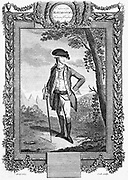 John Andre (1751-80) British soldier; served in America; aide-de-camp to General Grey and Sir Henry Clinton; entrusted to negotiate with Benedict Arnold for betrayal of West Point; captured by Americans and hanged as a spy. Copperplate engraving from Raym