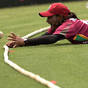 West Indian fielder Anisa Mohammed can't prevent four runs as she follows the ball over the boundary line during the West Indies V New Zealand group A match at Bankstown Oval  in the ICC Women's World Cup Cricket Tournament, in Sydney, Australia on March 10, 2009. New Zealand won by 56 runs. Photo Tim Clayton