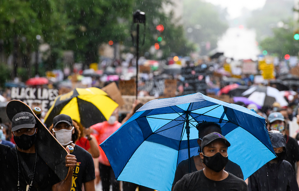 Protestors march in strike for black lives, to commemorate Juneteenth, marking the end of slavery in the United States. This continues nearly a month demonstrations, calling for and end to police brutality and defunding the police.