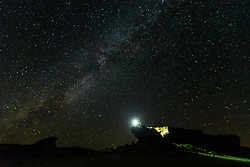 Castle Rock and night stars during Perseid meteor shower, Vermejo Park Ranch, New Mexico, USA.