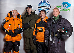 © Licensed to London News Pictures. 17/09/2012. London, United Kingdom ..(L-R) The Ice Team, Brian Newham, Sir Ranulph Fiennes, Spencer Smirl and Ian Prickett..Press call to announce Sir Ranulph Fiennes will be leading a team to take on the last remaining polar challenge by attempting to cross Antarctica in winter, the coldest journey on Earth....Photo credit : Chris Winter/LNP