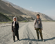 2 young students on their daily 45 minutes walk to go from their village, to the school in the village next door. <br /> The traditional life of the Wakhi people, in the Wakhan corridor, amongst the Pamir mountains.