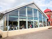 People eating inside Ee-Usk Restaurant, North Pier, Oban, Argyll and Bute, Scotland