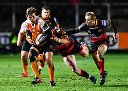 Cheetahs' William Small-Smith is tackled by Dragons' Hallam Amos<br /> <br /> Photographer Craig Thomas/Replay Images<br /> <br /> Guinness PRO14 Round 18 - Dragons v Cheetahs - Friday 23rd March 2018 - Rodney Parade - Newport<br /> <br /> World Copyright © Replay Images . All rights reserved. info@replayimages.co.uk - http://replayimages.co.uk
