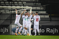 Players of Aluminij celebrating their first goal during football match between NS Mura and Aluminij in 7th Round of Prva liga Telekom Slovenije 2020/21, on October 18, 2020 in Mestni stadion Fazanerija, Murska Sobota, Slovenia. Photo by Blaž Weindorfer / Sportida