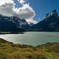 Thorny bushes called mother-in-law's cushion grow beside Lake Nordenskjold, under the Grand Tower of Paine (L) and the Horns of Paine in  Torres del Paine National Park, Chile.
