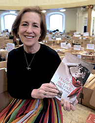 "Journalist Kirsty Wark is photographed ahead of the Christian Aid week George Street book sale. Items on sale include first editions of George Orwell's 1984 and Animal Farm, a second edition of Walter Scott's Rob Roy and a signed first edition limited edition copy of TS Elliott's Dante. The sale will take place on Saturday. St Andrew's and St George's West Church, George Street, Edinburgh<br /> <br /> Pictured: Kirsty Wark with her new book due for release in June - ""The House by the Loch""<br /> <br /> Alex Todd 
