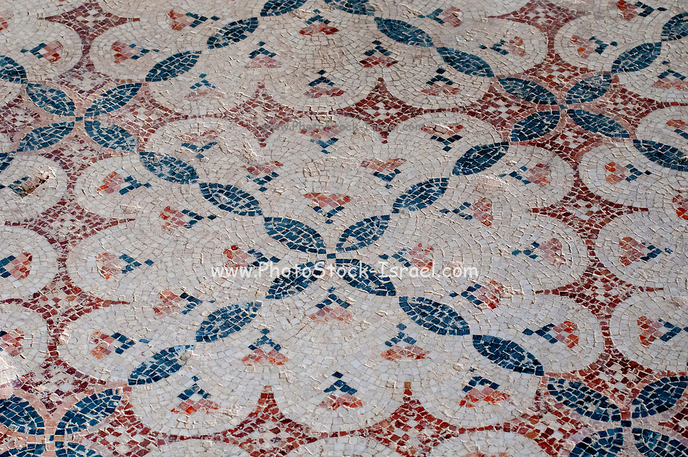 Geometric mosaic floor design in the Nile House at Zippori National Park The city of Zippori (Sepphoris) A Roman Byzantine period city with an abundance of mosaics, Lower Galilee, Israel