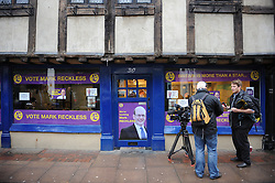 © Licensed to London News Pictures. 11/10/2014<br /> Press arriving outside Mark Reckless UKIP campaign shop 30 Rochester High Street. 8.30 am.<br /> UKIP Leader Nigel Farage on a walk about in Rochester today (11.10.2014)with Mark Reckless and new UKIP MP for Clacton Douglas Carswell.<br /> (Byline:Grant Falvey/LNP)