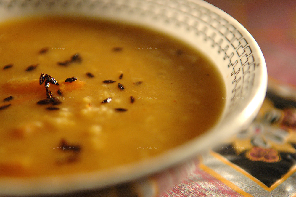 Jeera Lal Dal - Red letil soup wiht cumin seeds ( Recipe available upon request )