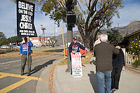 Central Missionary Baptist Church Religious Protesters Distributing Pamphlets on Street Corner at 2008 Post-Parade Rose Float Viewing, Pasadena, California