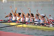 Shunyi, CHINA. GBR M8+,  Women's eights final, Gold medalist USA W8+,  (b)CAFARO Erin, SHOOP Lindsay<br /> GOODALE Anna, LOGAN Elle, CUMMINS Anne, FRANCIA Susan, LIND Caroline, DAVIES Caryn and cox, WHIPPLE Mary.<br />  2008 Olympic Regatta, Shunyi Rowing Course.  17/08/2008 [Mandatory Credit: Peter SPURRIER, Intersport Images
